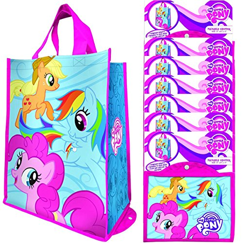 Vandor (8 Pack) Reusable Shopping Bags Bulk, Large Tote Bags For Kids and Adults, Bulk Set Foldable With Handles, For Shopping and Grocery, My Little Pony -