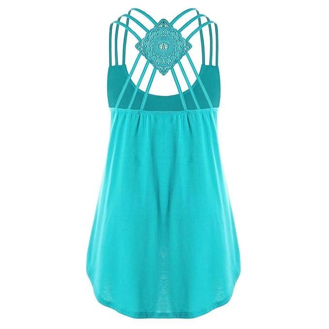 Camisetas verano mujer,❤️Ba Zha Hei Chaleco cruzado sin mangas de color sólido para mujer blusa Mujeres Casual verano sin mangas vestido de playa t-shirt ...