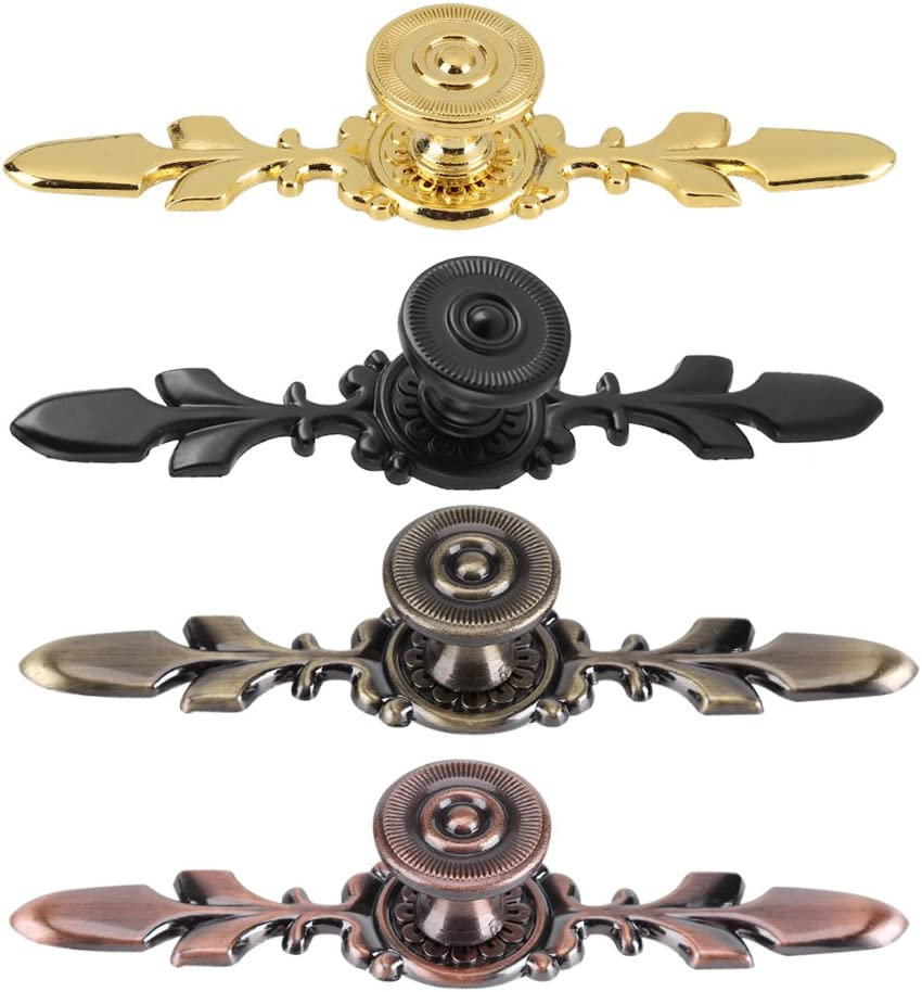 Set of 4 Vintage Style Pull Handle Door Knobs Back Plate for Home Furniture Drawers Cabinets Wardrobes Cupboard Cabinet with Screw Black
