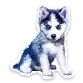 2 x 10cm Husky Puppy Watercolour Vinyl Sticker Dog Laptop Car Girls Animal #9620