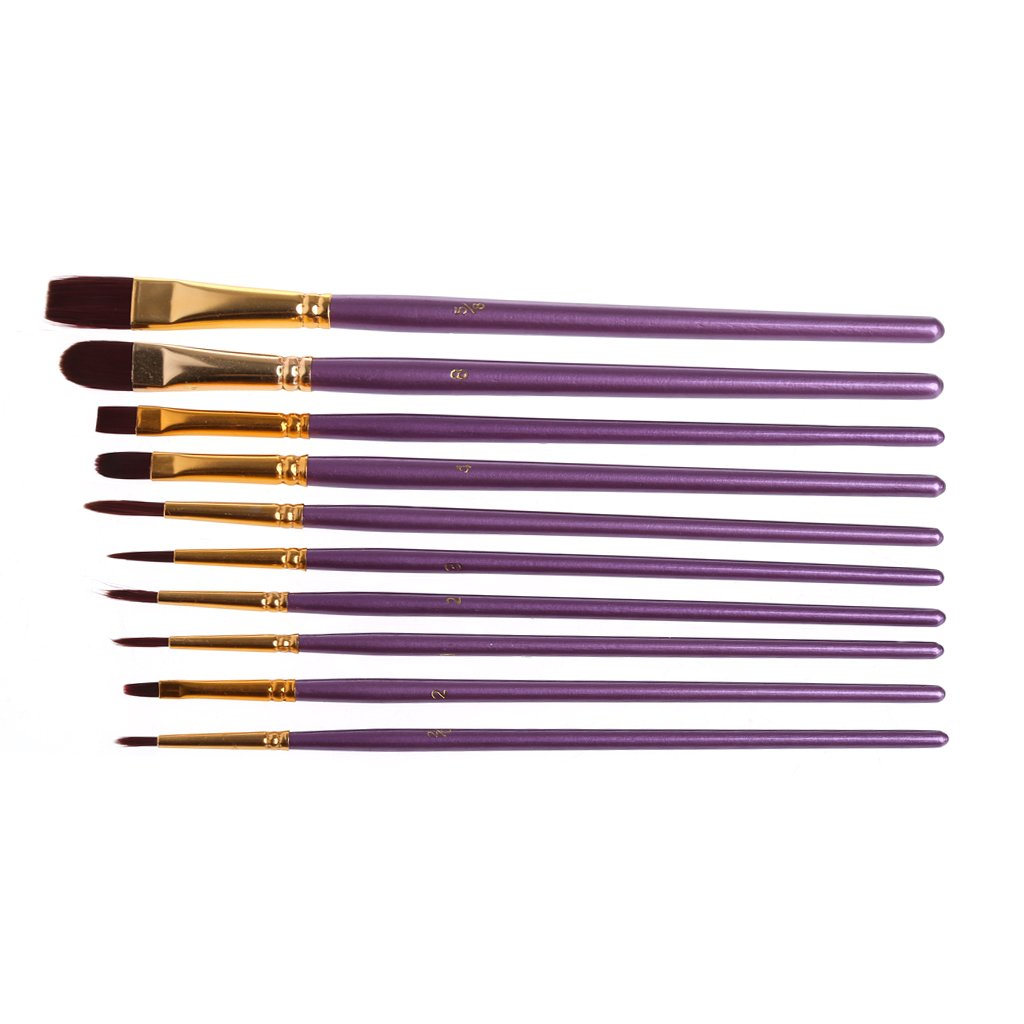 Bottone 10pcs Professional Paint Brushes Artist Paint Brush Set Nylon Hair for Watercolor Oil Acrylic Painting