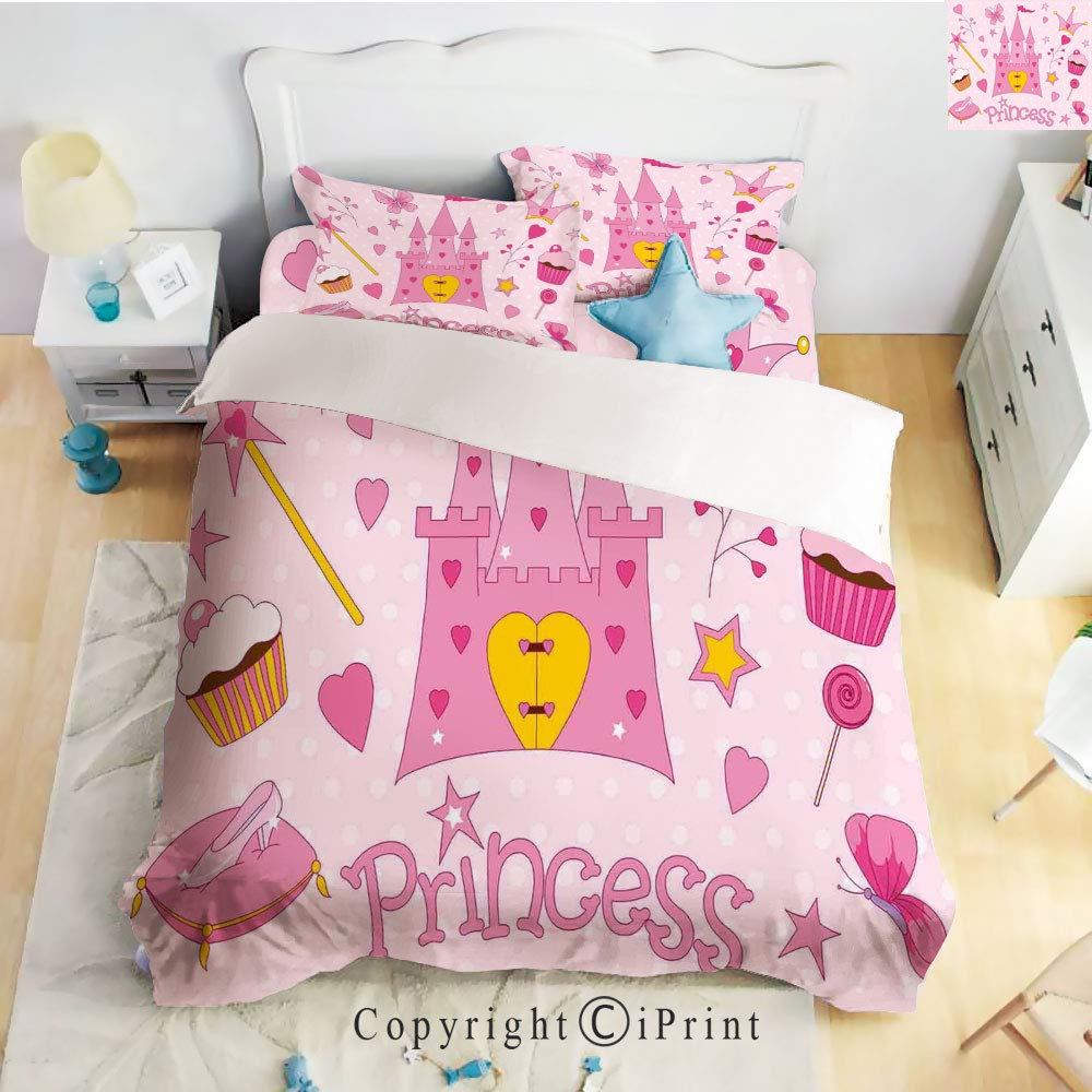 Home 4 Pieces Sheet Sets Microfiber Soft Wrinkle Fade Resistant,Little Princess Tiara Slippers Fairy Castle Butterfly Heart Lollipop Wand Cupcake Girls Party Print Decorative,Twin Size by Homenon