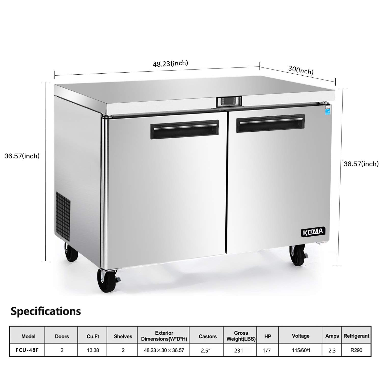13.8 pies cúbicos. Refrigerador comercial bajo encimera - KITMA 48 ...