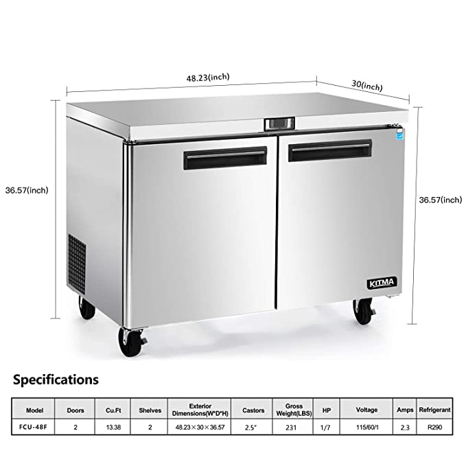 13.8 pies cúbicos. Refrigerador comercial bajo encimera – KITMA 48 ...