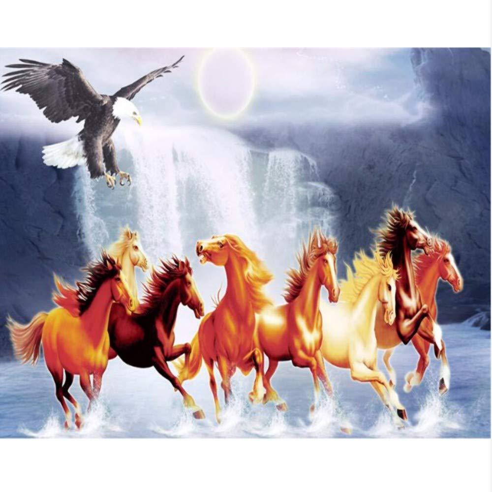 Amazon Com Pbldb 3d Wallpaper Horse Group Eagle Night Falls