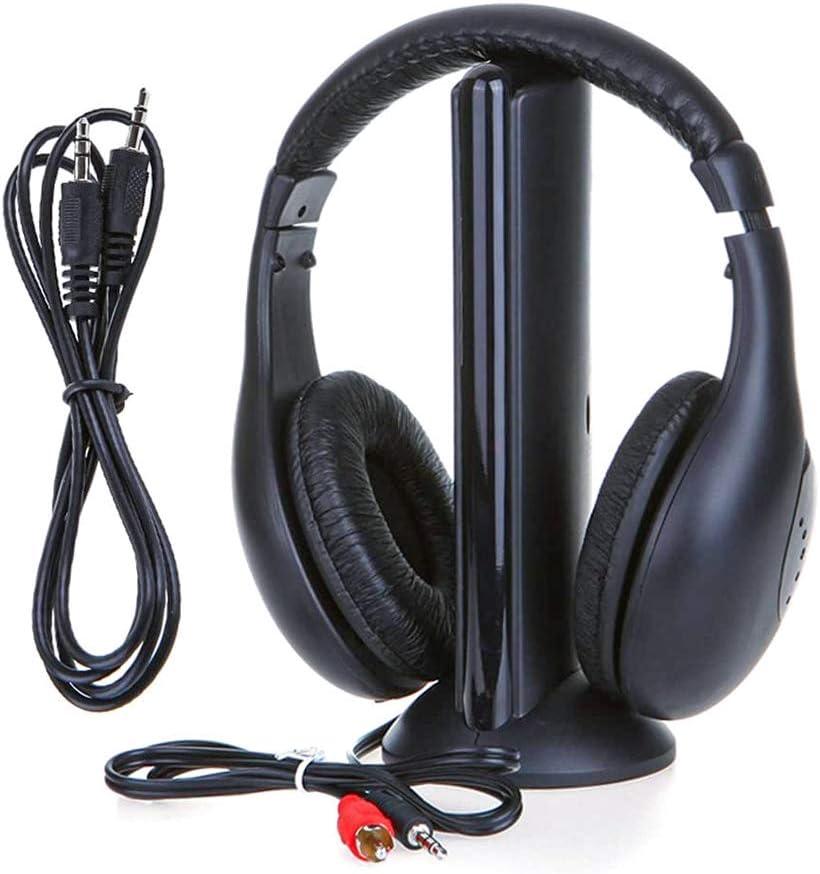 LEDLUX VH3656 - Auriculares inalámbricos 5 en 1 para TV PC FM Radio Reproductor MP3 CD DVD