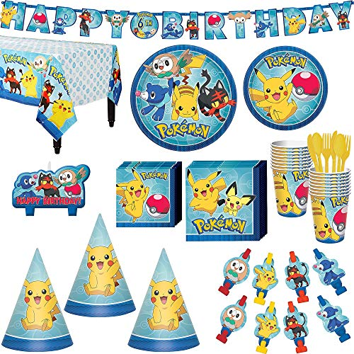 Pokémon Core Birthday Party Kit, Includes Happy Birthday Banner, Candles and Party Hats, Serves 16, by Party City -