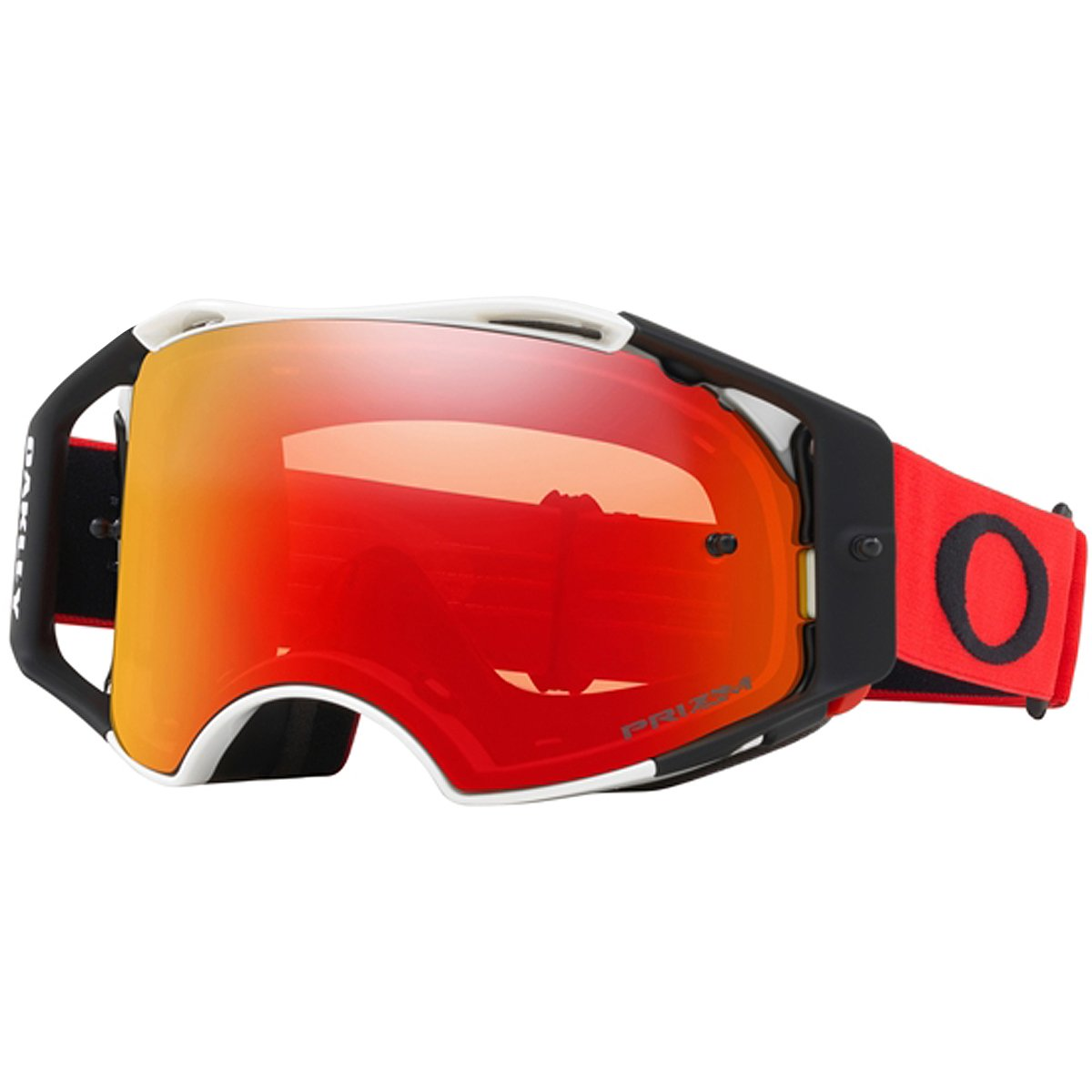 Oakley ABMX Red White with Prizm MX Torch unisex-adult Goggles (Red, Medium), 1 Pack