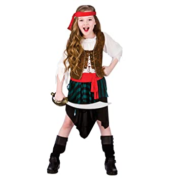 (XL) Girls Caribbean Pirate Girl Costume for Sea Buccaneer Fancy Dress Kids Childs Extra  sc 1 st  Amazon UK & XL) Girls Caribbean Pirate Girl Costume for Sea Buccaneer Fancy ...