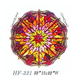 HF-321 22'' Rural Vintage Tiffany Style Handmade Pastoral Dragonfly Pattern Kaleidoscope Stained Glass Window Hanging Glass Panel Suncatcher