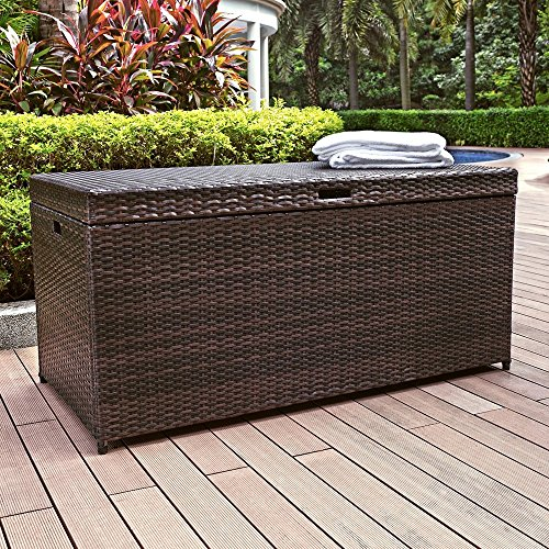 Crosley Palm Harbor Outdoor Wicker Storage Bin, Brown (Patio Storage Chest compare prices)