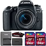 Cheap Canon EOS 77D 24.2MP DSLR Camera with 18-55mm IS STM Lens and Two 64GB Memory Cards