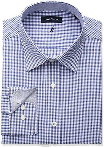 33 Wrinkle Free Dress Shirt (Nautica Men's Classic Fit Performance Tattersall Spread Collar Dress Shirt, Blue, 15