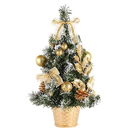 monsin christmas clearance artificial tabletop mini xmas tree decorations festival miniature tree 40cm gold - Mini Christmas Tree Decorations