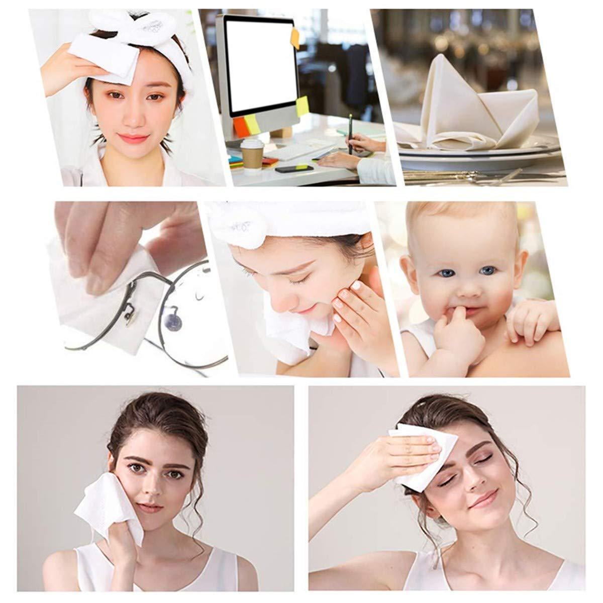 Confezione da 80 panni in cotone usa e getta per la pulizia del viso in tessuto non tessuto morbido di cotone per rimuovere il trucco del viso occhi e smalto per unghie