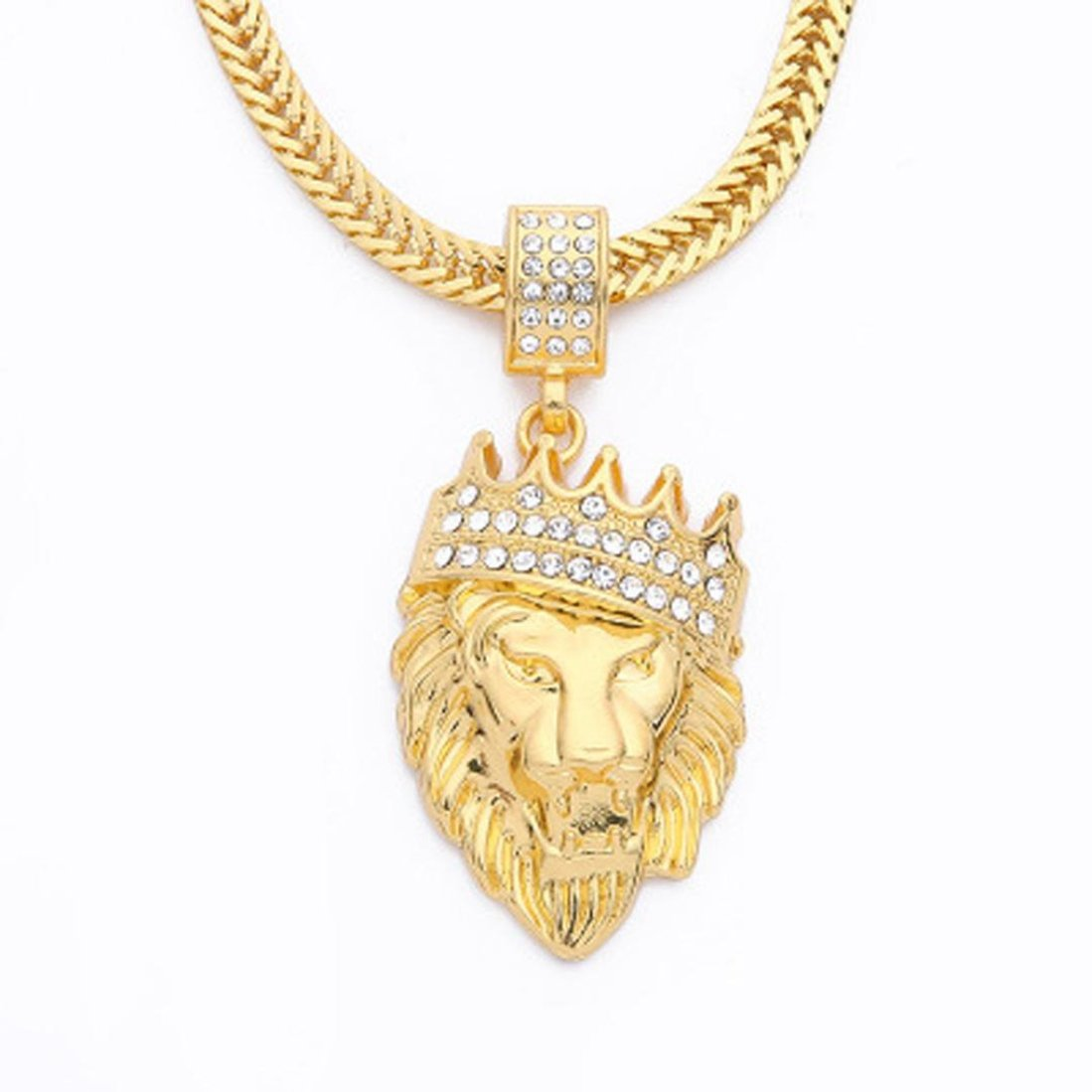 Saihui Mens Full Iced Out Rhinestone Lion Tag Pendant Cuban Chain Hip Hop Necklace (Gold) pmp03192567