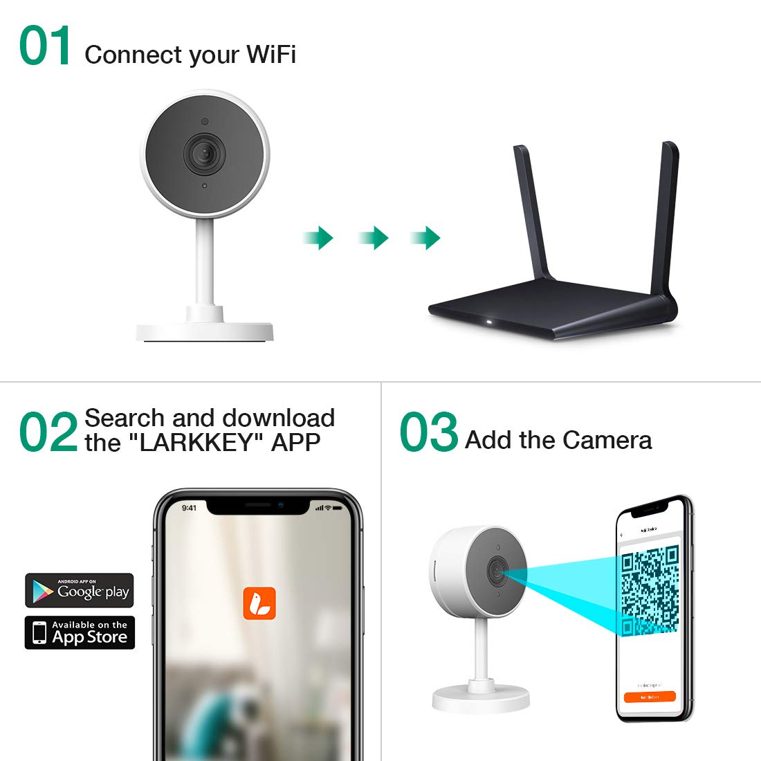 LARKKEY WiFi Home Security Surveillance Camera 1080P, Smart Baby Monitor Compatible with Alexa and Google Home, Motion Detection & Tracker, Night Vision by LARKKEY (Image #8)