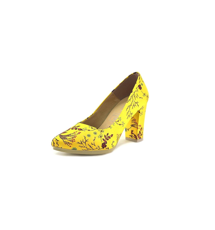 MADE IN SPAIN Zapatos de Salon Para Mujer de Piel by CHAMBY Mod. 4785 40 EU Amarilllo