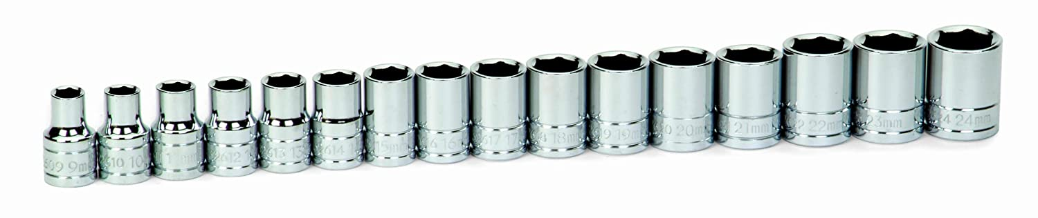 JH Williams 32943 16-Piece 1//2-Inch Drive Metric Shallow 6 Point Socket Set