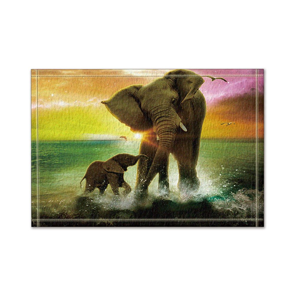 NYMB The elephant mother and child river at dusk Bath Rugs, Non-Slip Rectangle Floor Entryways Outdoor Indoor Front Door Mat,16X24 Inches Bath Mat