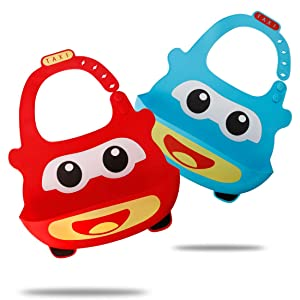 Waterproof Silicone Bib for Babies & Toddlers, Comfortable Soft Baby Bibs for Girls and Boys, 6-72 Months, 2-Pack (2-Blue/red car)