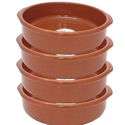 Pack de 4 Cazuelas de barro de 30 cm apta para vitro: Amazon.es: Hogar