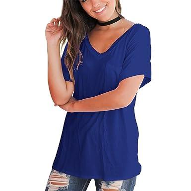 3168f42ccea84 T-Shirt Manches Courtes Femme Basique Simple Chemise Col V Poche Blouse Ete  Grande Taille