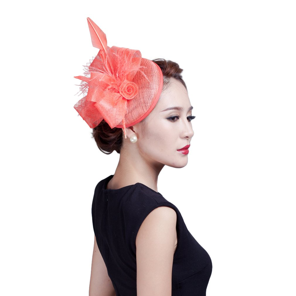 La Vogue Women's Sinamay Fascinator Flower Hat Vintage Styled Derby Hat with Clip (Shallow Watermelon red)