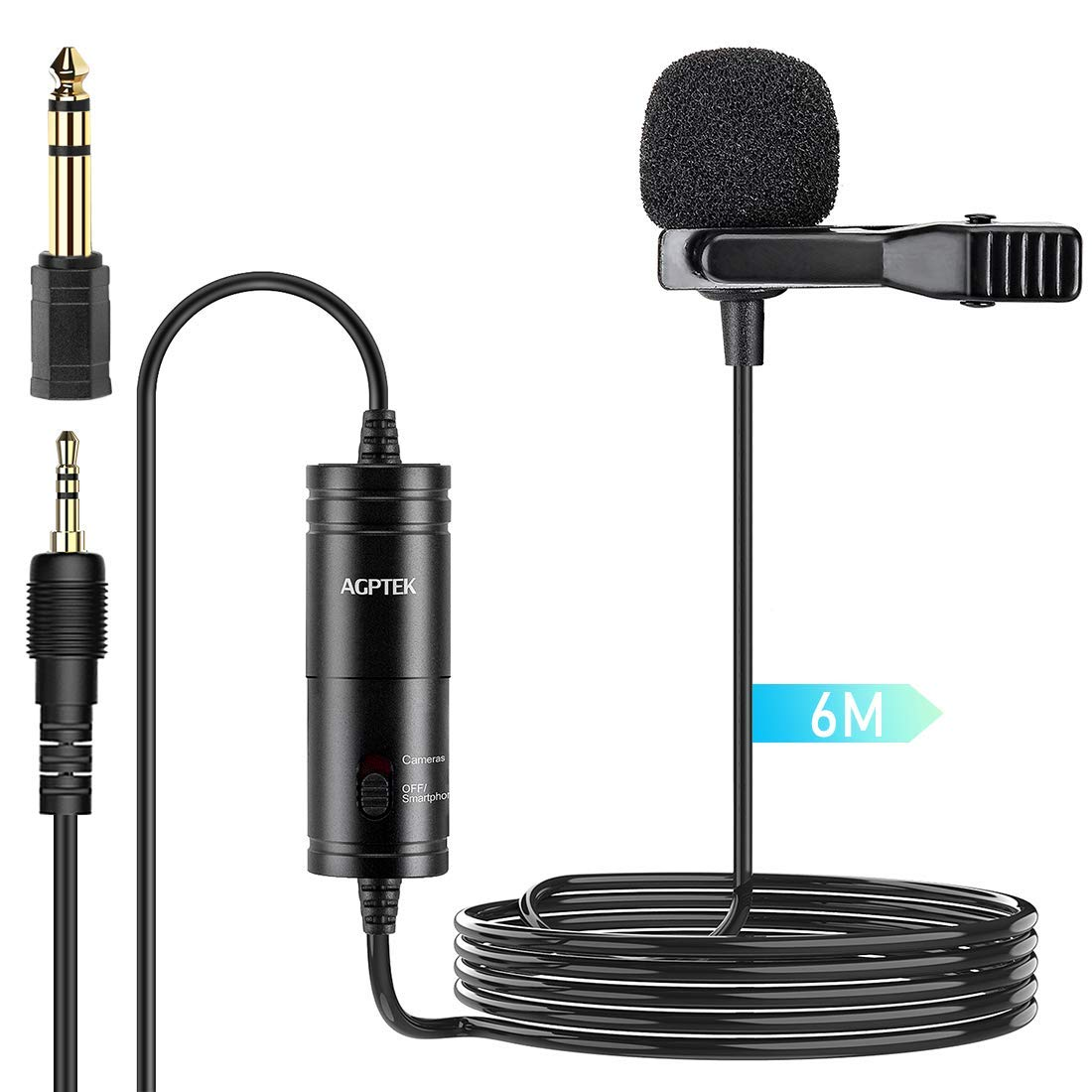 Lavalier Microphone, AGPTEK (236 in) Clip on Omnidirectional Condenser Lavalier Lapel Mic for Camera, DSLR, iPhone, Android, PC, Interview, Video conferencing, Podcast,Recording