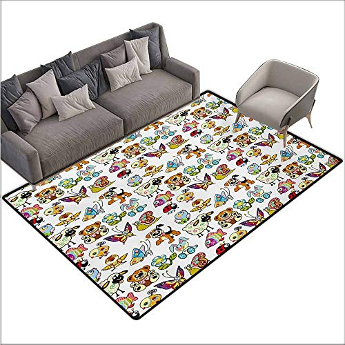 - Inner Door Rug Nursery Collection of Cartoon Animals Adorable Funny Toy Figures Play Time Childhood Theme Easy to Clean W78 xL106 Multicolor