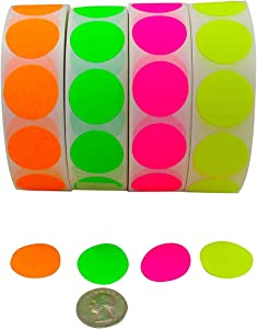 Color Coding Labels Super Bright Fluorescent Neon Yellow, Green, Orange and Pink Round Circle Dots for Organizing Inventory 1 Inch 4,000 Total Adhesive Stickers (1,000 of Each Color)