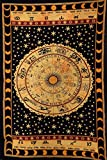Black Zodiac Sign Celestial Tapestry Wall Decor, Astrological Sun Moon Tapestry Wall Hanging, Horoscope Psychedelic Tapestries Wall Art