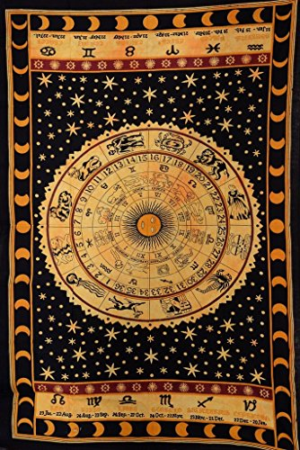 Trade Star Exports Black Zodiac Sign Celestial Tapestry Wall Decor, Astrological Sun Moon Tapestry Wall Hanging, Horoscope Psychedelic Tapestries Wall Art ()