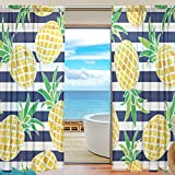 SEULIFE Window Sheer Curtain, Stripe Summer Pineapple Pattern Voile Curtain Drapes for Door Kitchen Living Room Bedroom 55x78 inches 2 Panels