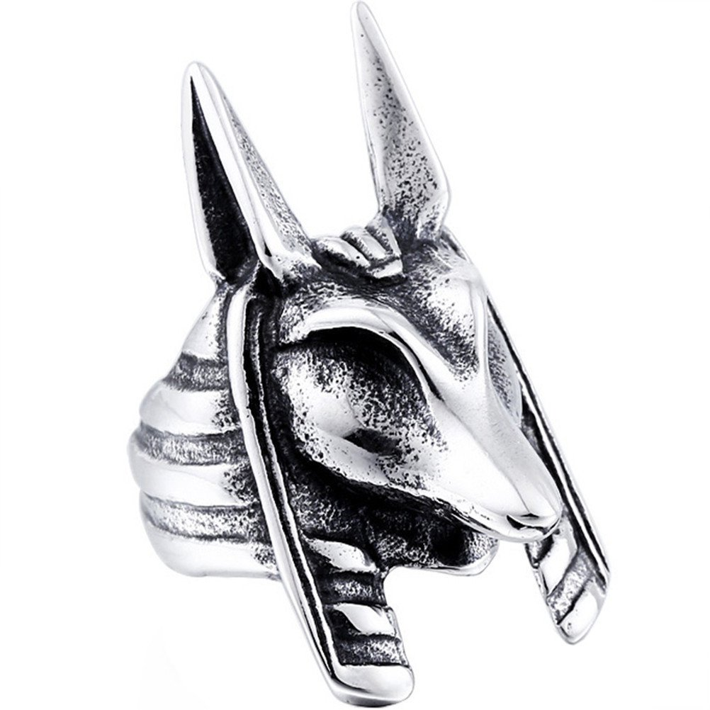 UNAPHYO Men's Stainless Steel Jackal Head Egypt God Anubis Ring Unique Vintage Style UA117-8-12H63