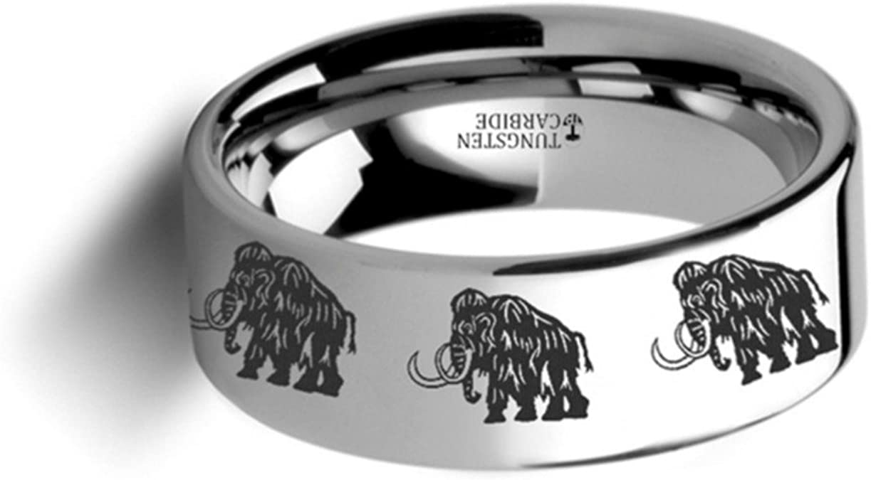 Thorsten Dinosaur Ring Woolly Mammoth Prehistoric Paleo Flat Polished Tungsten Ring 12mm Wide Wedding Band from Roy Rose Jewelry