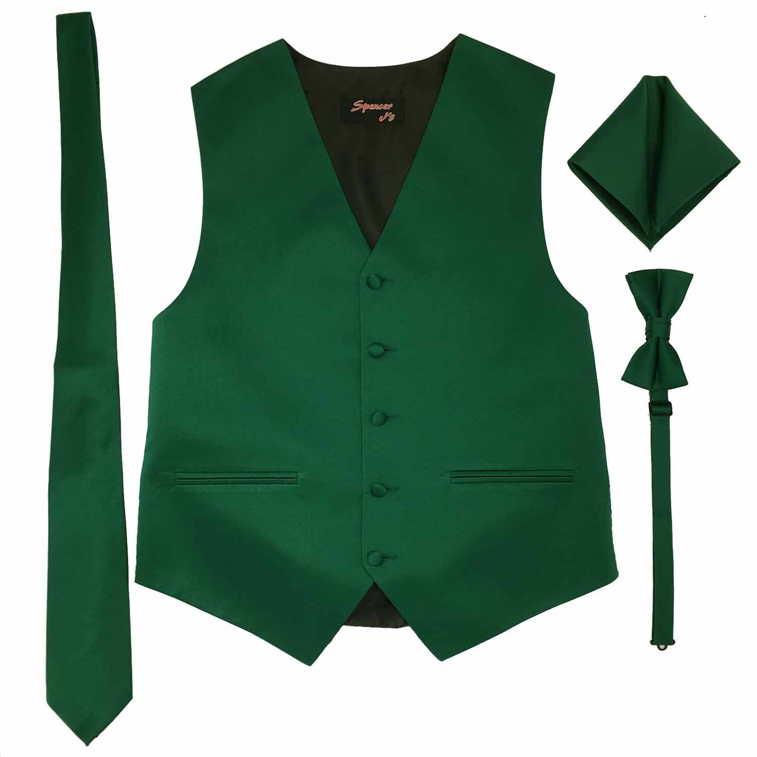 Spencer J's Men's Formal Tuxedo Suit Vest Tie Bowtie and Pocket Square 4 Peice Set Verity of Colors (S (Coat Size 35-37), Forest/Emrald)