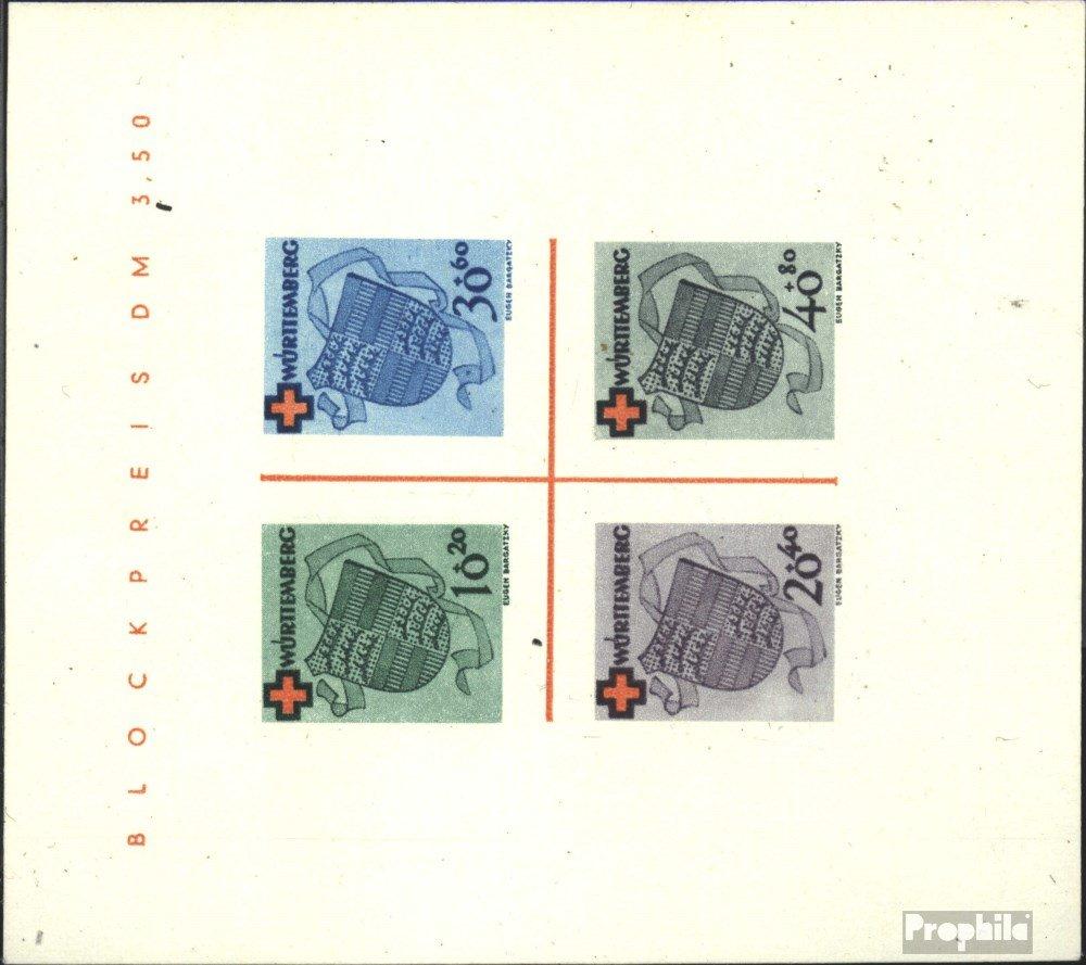 Prophila Collection Franz. Zone-Württemberg Block1I (kompl.Ausg.) geprüft mit Attest 1949 Rotes Kreuz (Briefmarken für Sammler) Rotes Kreuz