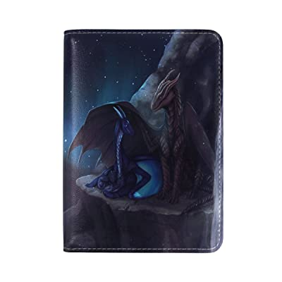 Monster Cartoon Genuine Leather UAS Passport Holder Travel Wallet Cover Case