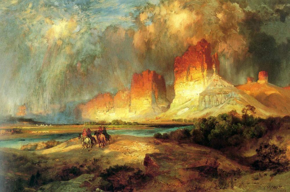 手描き-キャンバスの油絵 - Cliffs of the Upper Colorado River Rocky 山脈 School Thomas Moran Famous 芸術 作品 洋画 ウォールアートデコレーション -サイズ06 B07HF3KRJZ  30 x 36 インチ 30 x 36 インチ