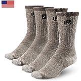 4 Pairs 71% Premium Large Crew Wool Socks Merino Wool Hiking Trekking Crew Socks Made in USA People Socks