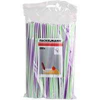 Fackelmann 54840 Flexible Straws, Multicolored, 200 Piece