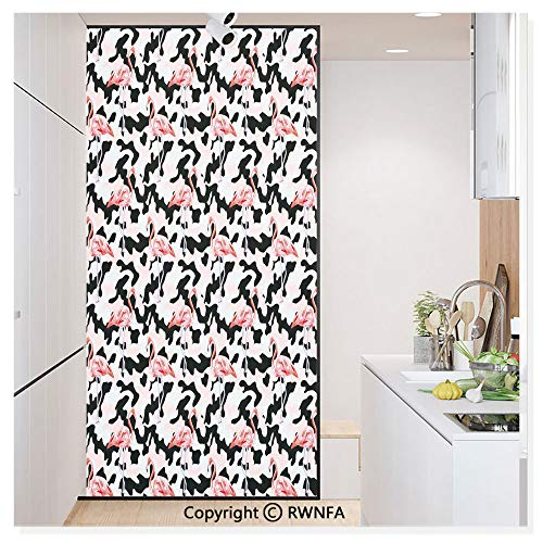 Window Glass Sticker Door Mural Watercolor Pink Flamingo Print Camouflage Background Nature Inspired Static Cling Privacy No Glue Film Home Decorative 11.8x59.8inch,Dark Coral Light Pink Black