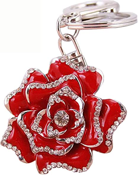 Amazon.com: bolbove floración Rose Llavero Sparkling Flower ...