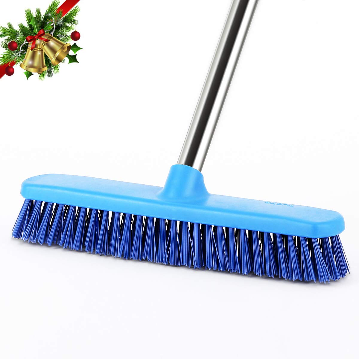 Floor Scrub Brush Commercial YCUTE 51.6 Removable Long Handle 12.2 Multi Surface Stiff Brush for Tile Grout Concrete Recesses Deck and Garage