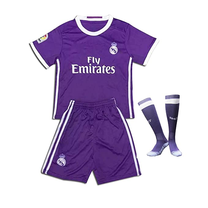 detailed look 5dda3 a5999 Real Madrid 2017 Soccer Jerseys Uniform Purple Ronaldo No.7 Away Kids Youth  Football Shirt +Short+Socks