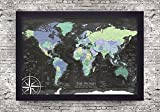 Personalized World Map - Push Pin World Map - The Enterprise World Map - Large Framed Map - Push Pin Map or Wall Map