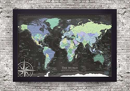 Personalized World Map - Push Pin World Map - The Enterprise World Map - Large Framed Map - Push Pin Map or Wall Map by GeoJango