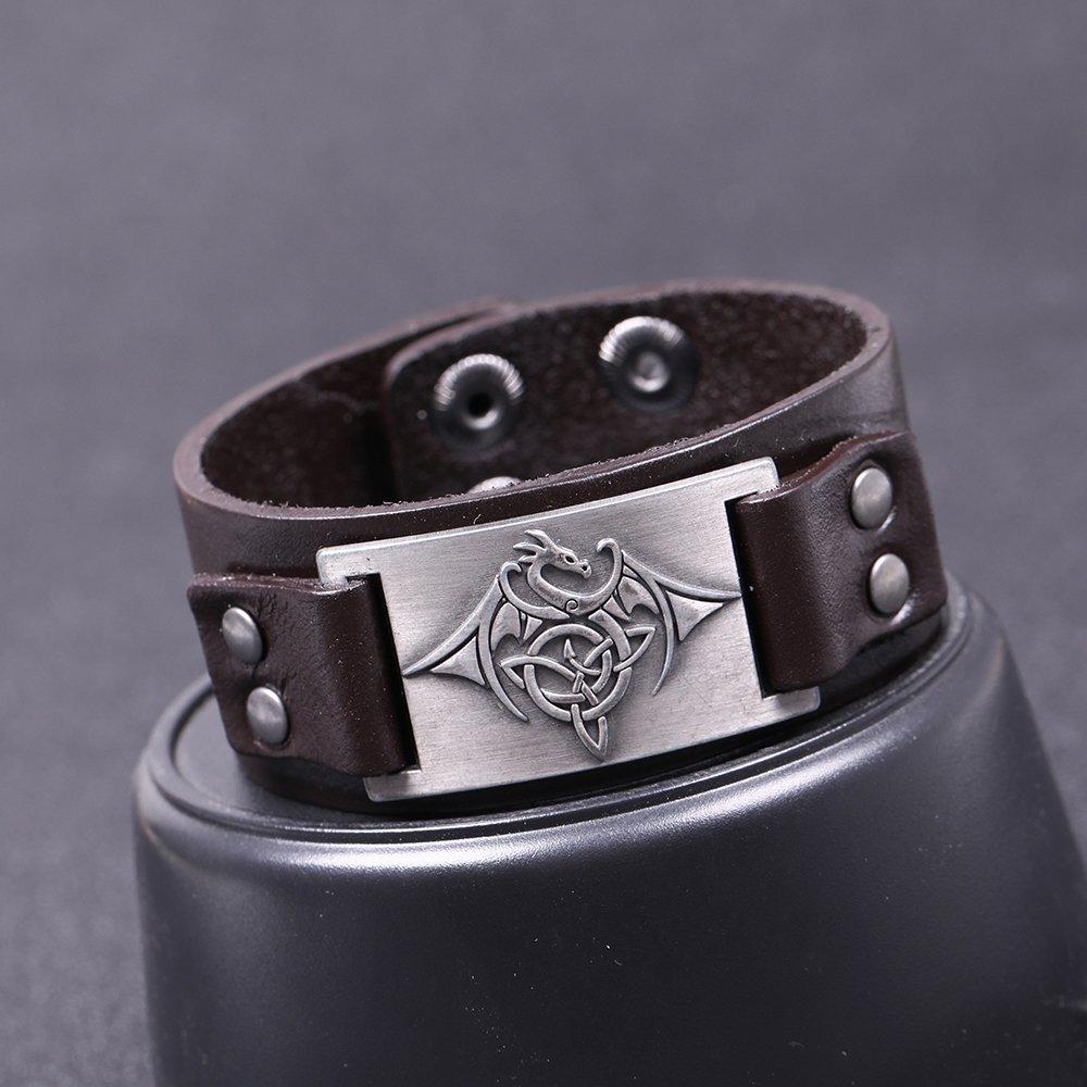 fishhook The Elder Scrolls Bracelet en cuir/Motif dragon et triquetra