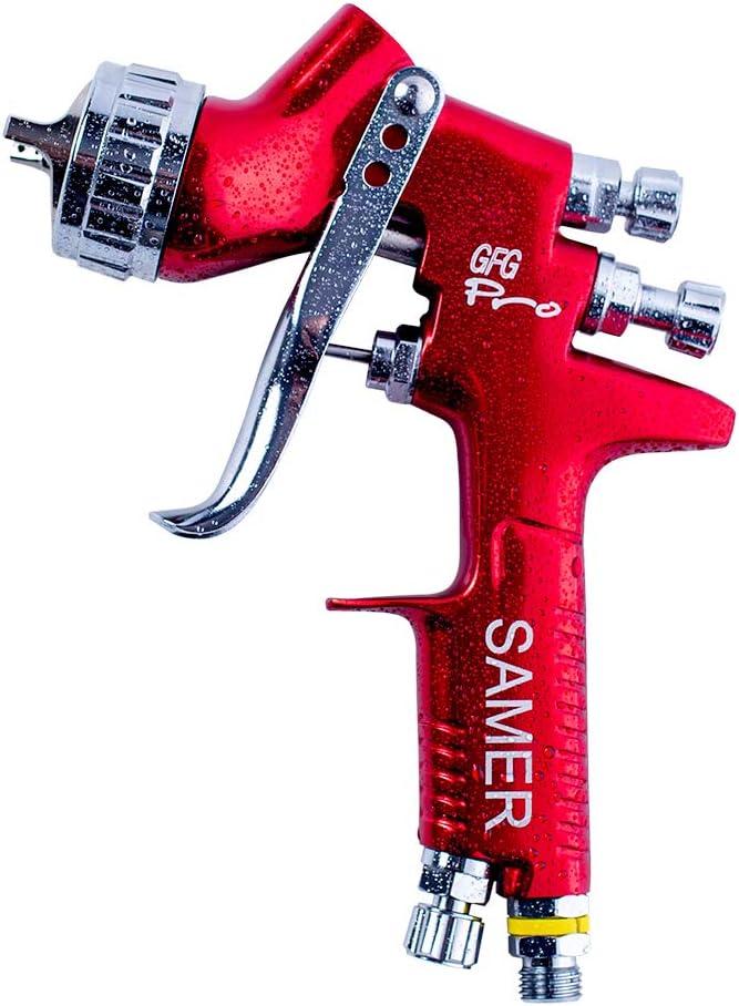 SAMER, GFG Pro Pistola de pintura profesional HVLP para coche, ahorro de material, boquilla de 1,3 mm, taza de plástico de 600 ml